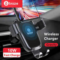 Biaze Car Phone Holder 10W Qi Wireless Car Charger For iPhone XS Max X XR 8 Fast Car Wireless Charger For Samsung Note 9 S9 S8