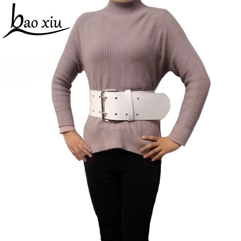 Wide Leather Belt For Women Vintage Fashion Pu Leather Cool Waistband White Black Accessories Slimming Belt Ceinture Femme