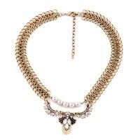 Double Chain Pearl Beads Fan Shape Flower Pendant Necklace Vintage Gold Unique