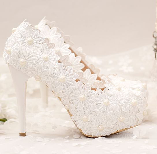 ФОТО 12/10CM high heeled platforms white pumps shoes for woman round toes lace flowers white pearls TG673 lace bridal wedding shoes