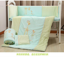FREE SHIPPING 7Pcs Cotton Baby Cot Bedding Set Newborn Cartoon Crib Bedding Detachable Quilt Pillow Bumpers Sheet Cot Bed Linen