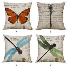 Funda de cojín decorativa 45x45 40x40 Lino de algodón Vintage mariposa libélula sofá cama para decoración de hogar tiro funda de almohada funda de cojín ussenhoes