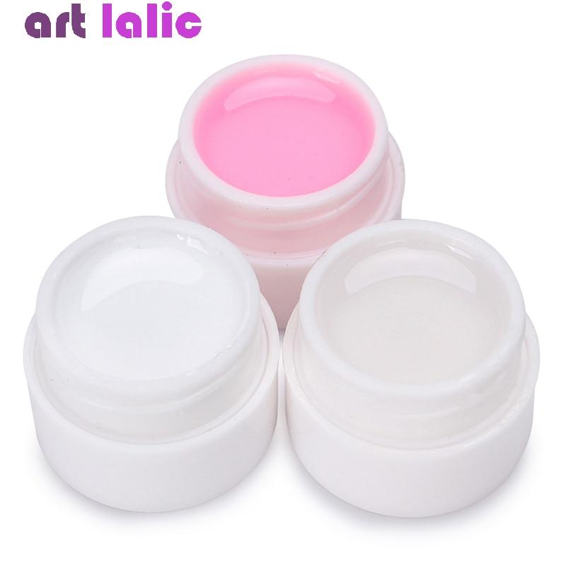 Gel uv para extensão de unhas 3 cores, conjunto transparente, branco, rosa, extensão do dedo, formato de esmalte em gel para unhas verniz do construtor de arte