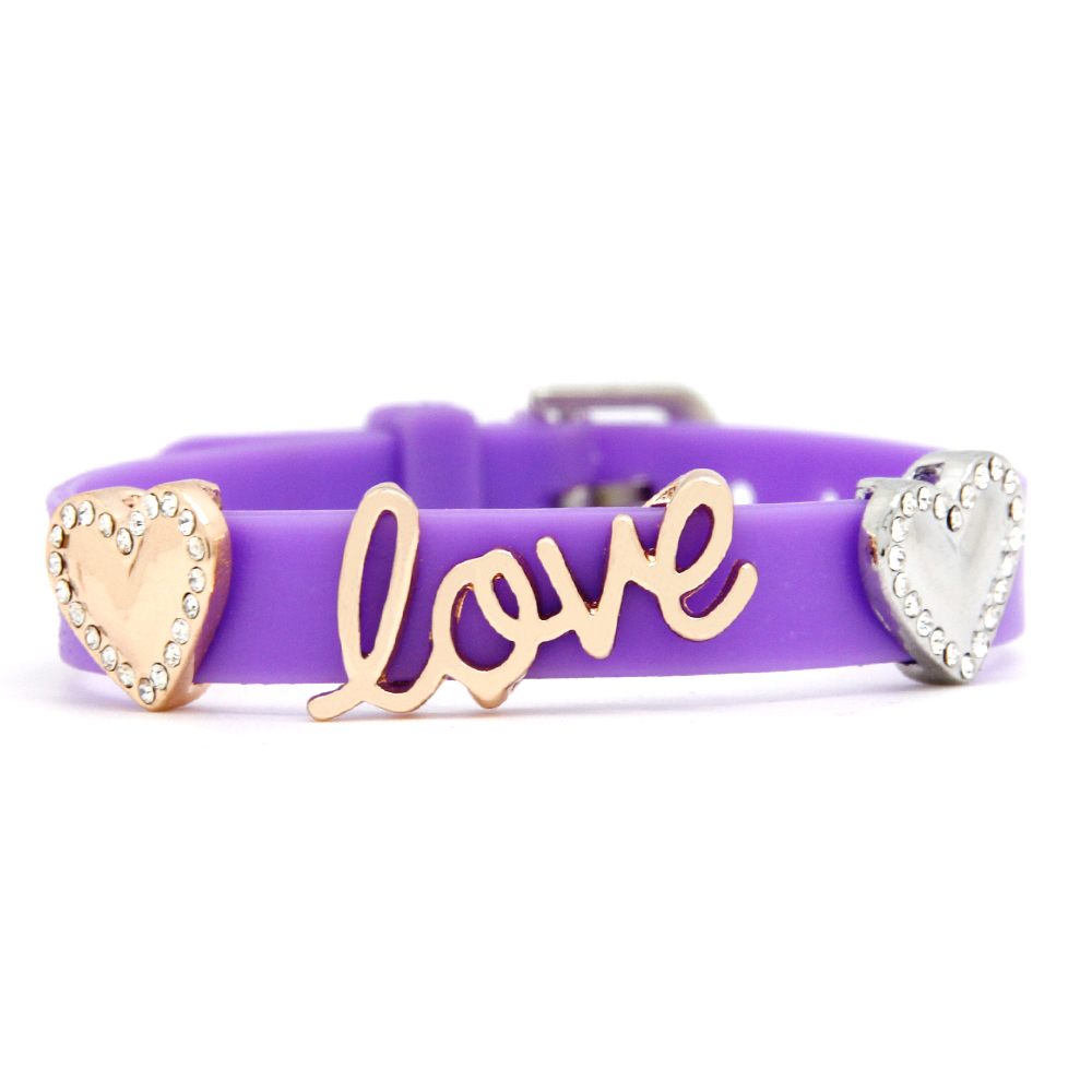 Fashion Purple Silicone Wristband Love Heart Charms Jewelry Slide Bracelet Whole Scb043 In Charm Bracelets From Accessories On Aliexpress