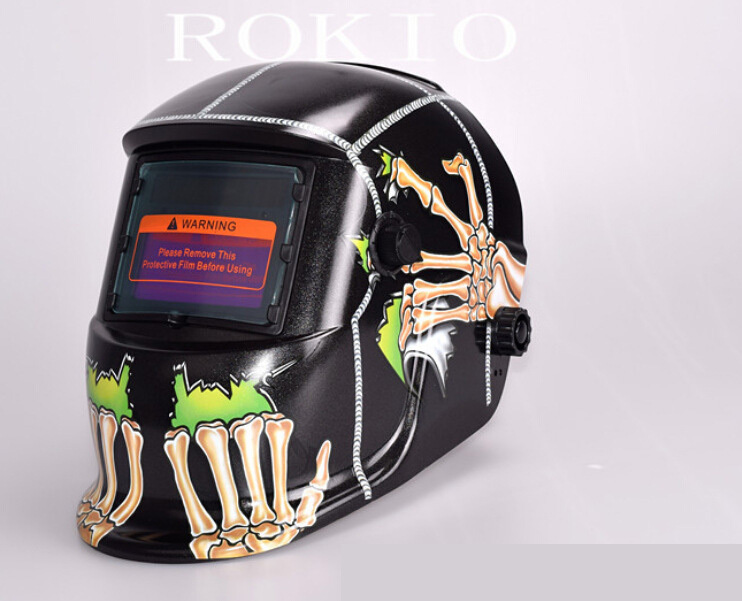 Welding helmet Skull head image  automatic light welding electrode mask all automatic solar power supply automatic image segmentation of hela cells