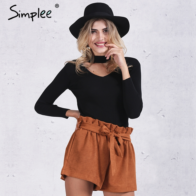Simplee Slim halter knitted sweater women tops Autumn winter 2016 white v neck short pullover Casual black jumper pull femme
