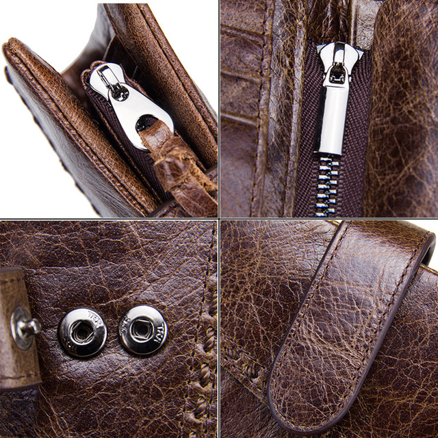 CONTACT'S Casual Men's Genuine Leather Short Wallet Hasp Design Key Holders Clutch Purse With Zipper Pouch Wallet Gift For Men 4