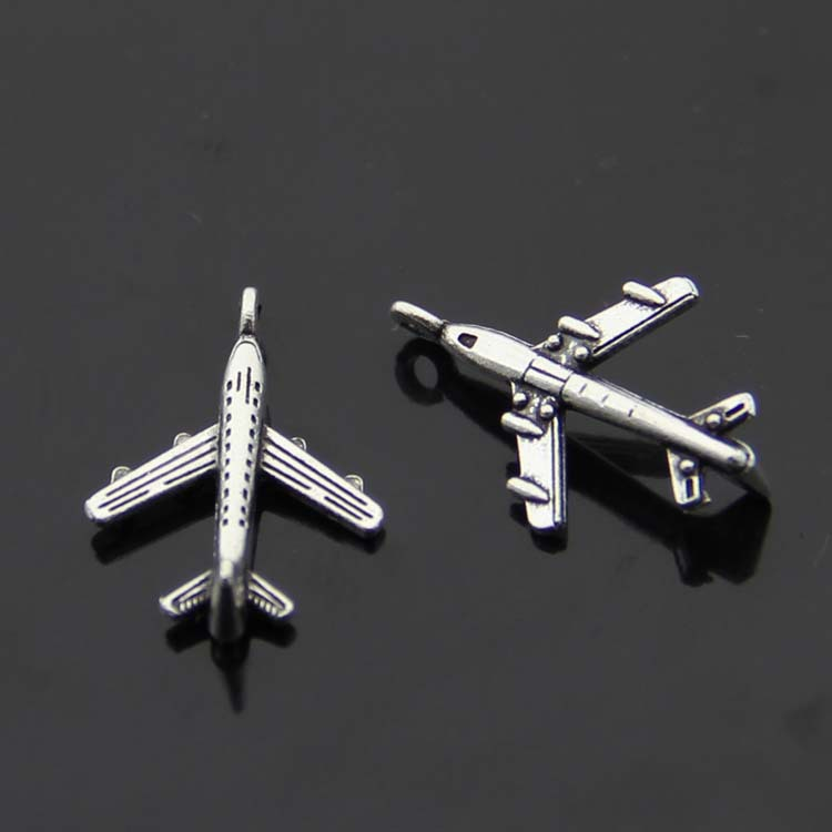 Daisies 150pcs/lot Hot Sale Airplane Charms Antique Tibetan Silver Mini Aircraft Plane Charm Pendants 22*14mm image