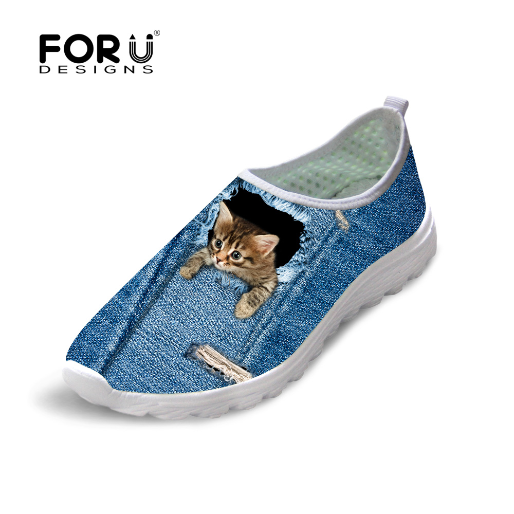 FORUDESIGNS Cute Animal Dog Cat Printing Air Mesh Flat Shoes for Women Ladies Summer Casual Light Denim Shoes Female Girls Flats instantarts cute glasses cat kitty print women flats shoes fashion comfortable mesh shoes casual spring sneakers for teens girls