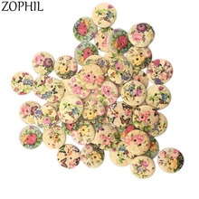 ZOPHIL 20mm 50Pcs 2 Holes Wooden Buttons Vintage Plant Style Sewing Scrapbooking Accessories DIY Sew Craft Decorative Wood