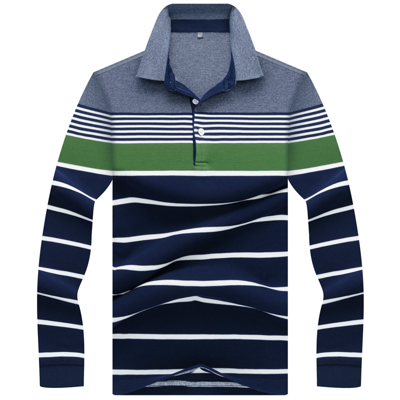 2018 New Top Mens Polo Shirt Autumn Long Sleeve Fashion Stripe PIQUE Cotton Fit Slim Male Casual Polo Shirts Men Tees 3XL AF8812