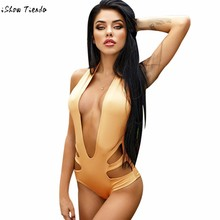 3558bebcdf Solid Swimsuit Fused Costumes For Women Padded Push-up Bikini One-piece  Swimsuit Sexy Backless Swimwear A Whole Bathing Suit