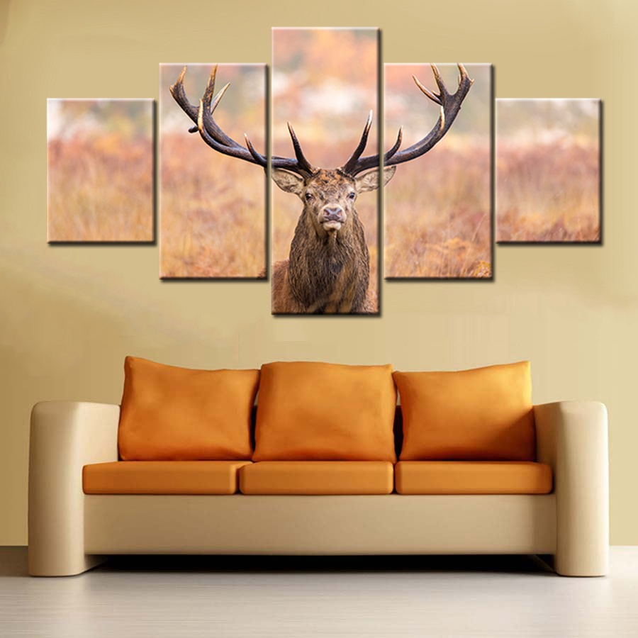 5 Panel Deer Wall Art Canvas Prints Buck Buckhorn Grass Foggy Field ...