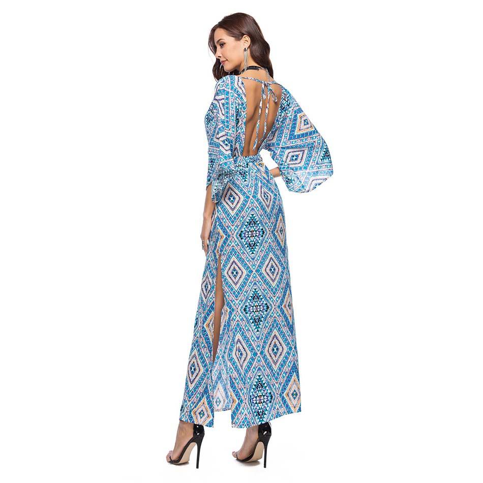 Bohemia Long Dress Women Floral Print Chiffon Beach Dress Summer V-neck Sexy Dress Backless Bohemian Dress Chic Boho Beach Cloth