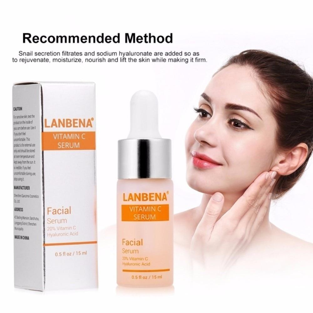 LanBeNA 1Pc Vitamin C Facial Moisturizing Serums Anti Aging Wrinkle Skin Whitening Brightening Serum Cream Hyaluronic Acid TSLM1