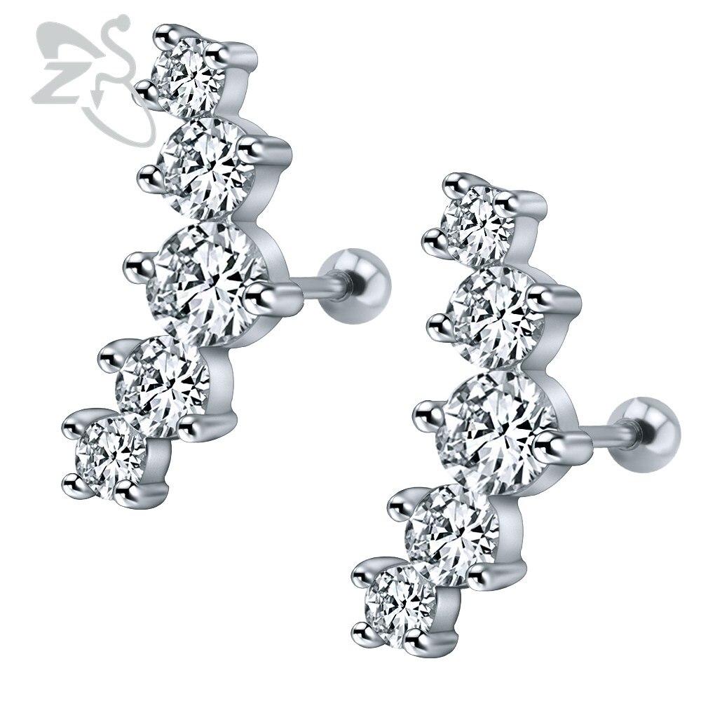 Pretty Crystal Unique Shape Ear Cuff Earrings Stainless Steel Ear Stud  Earrings Piercings Women Wedding Party