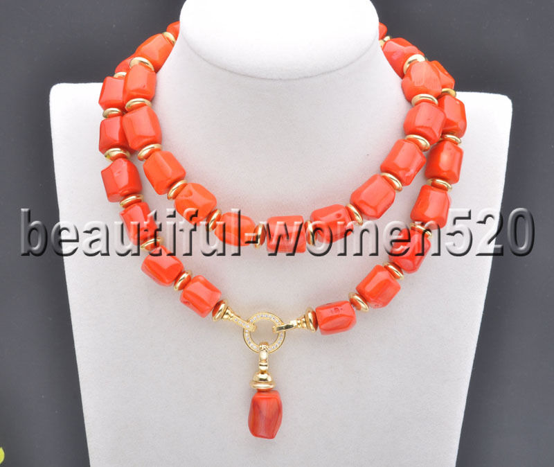 Z7758 13mm Natural cylindrical Pink Coral Bead Necklace Pendant 28inch