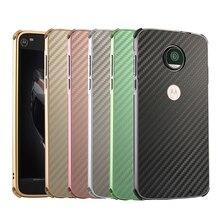 For Motorola Moto E4 Plus Case Aluminum Metal Frame+Carbon Fiber Hard Cover for XT1773 Shockproof Phone Shell