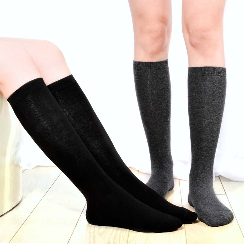2pcs Child Boy Football Socks Solid Colored Knee High