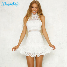 2018 Party Dress White turtle neck Sleeveless Plain Eyelash Lace Dress Women  Elegant Hollow Out Scallop 7f8823c92a6f