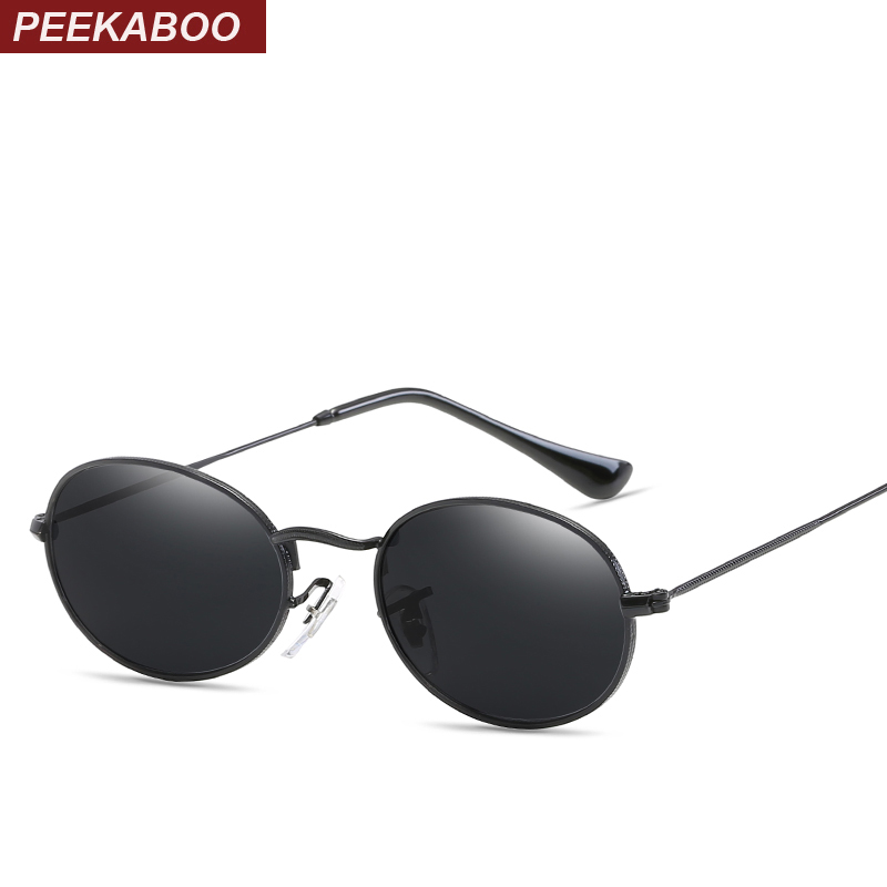 Peekaboo gafas de sol ovaladas pequeñas, de tamaño pequeño para hombres, gafas de sol con marco de metal redondo negro para mujeres espejo uv400