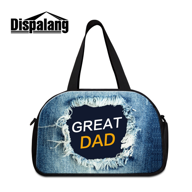 ffc355c83157 Dispalang personalized design text women luggage bags cool denim unisex  hand trolley bag for men mens