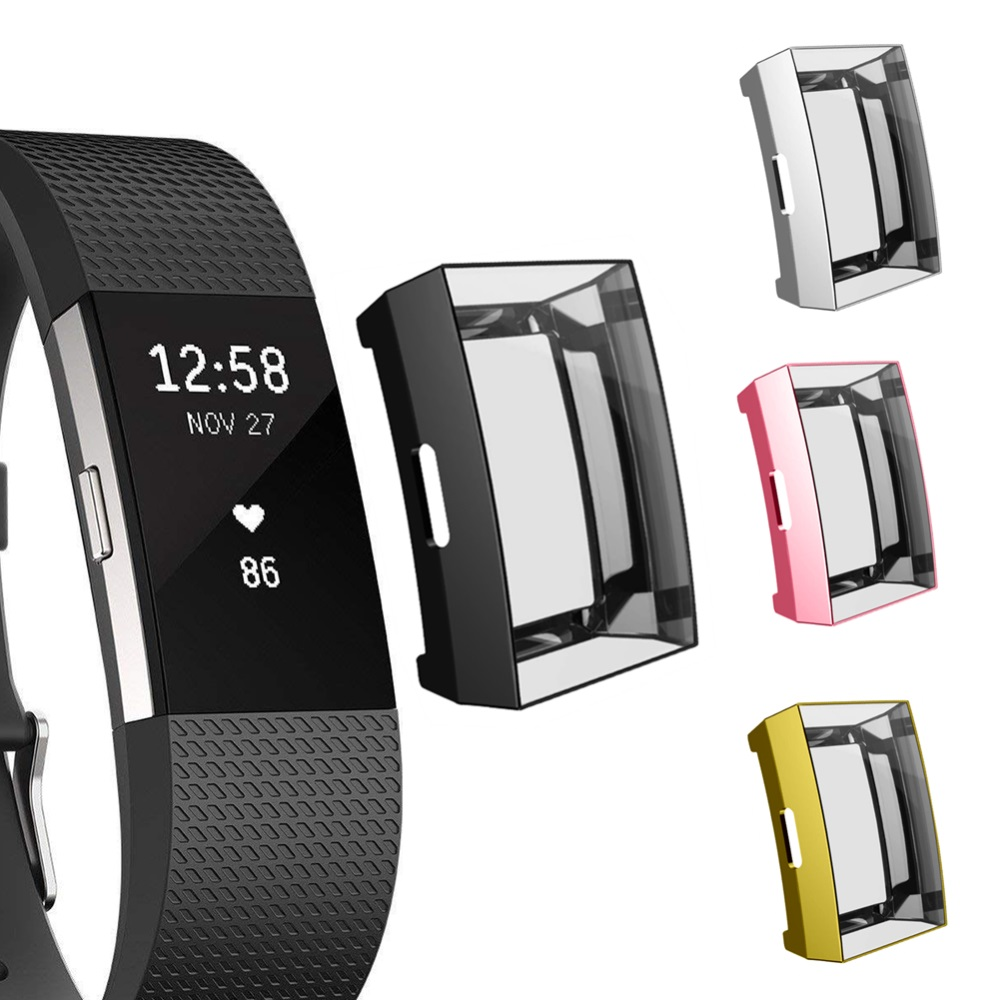 Case-Accessories Screen-Frame Plating-Protection Fitbit-Charge 2-Band-Replacement Soft-Silicone