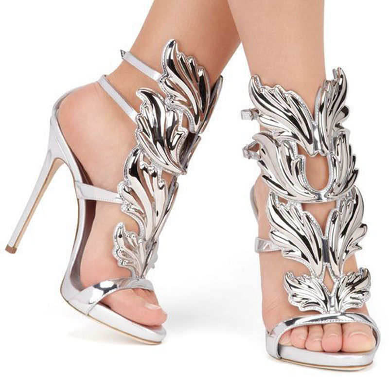 Haute Mode Mince D'été argent Sexy Talons multi kaki Verni Ailes Femme Gladiateur Sandalias Mujer Noir Femmes Boucle Pompes De Chaussures Sangle Sandales or En Cuir On0Pwk