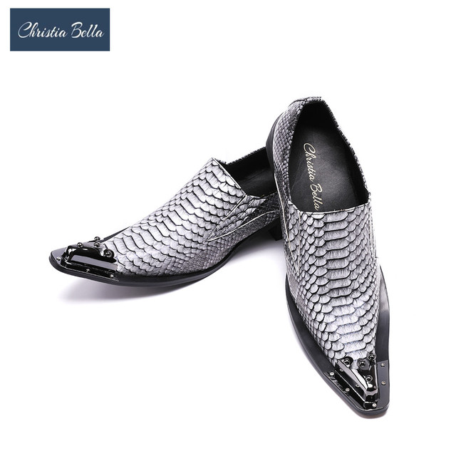 Christia Bella Fashion New Men Shoes Design Wedding and Banquet Style Shoes  Man Flats Shoes Metal Tip Pointed Toe Wedding Shoes 8ed2a76df2c2