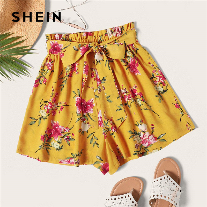SHEIN Ginger Boho Floral Print Paperbag Waist Belted Loose   Shorts   Women Elastic Waist Beach Casual Wide Leg Summer   Shorts
