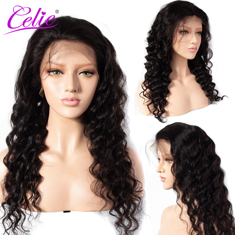 Celie Hair Brazilian Loose Deep Wave Full Lace Wig 100 Human Hair Wigs With Baby Hair