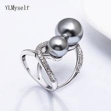 Модное большое кольцо с жемчугом элегантное ювелирное изделие