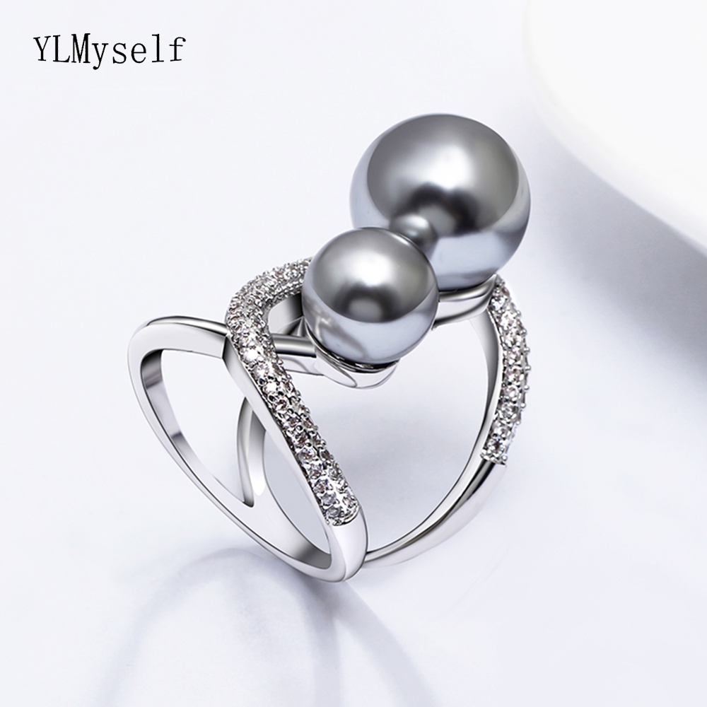 Fashion large pearl ring crystal elegant jewelry high quality women trendy jewellery