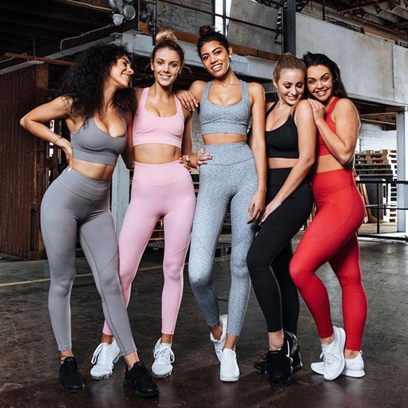 Women Tracksuit Solid Yoga Set Fitness Clothing Leggings Bras Suit High Waist Gym Clothes Crop Tos Sports Running Pants Suit