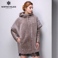 Real fur women fur coats Designer Collection winter down coat sheepskin coat Sheep Shearing Coat Hooded