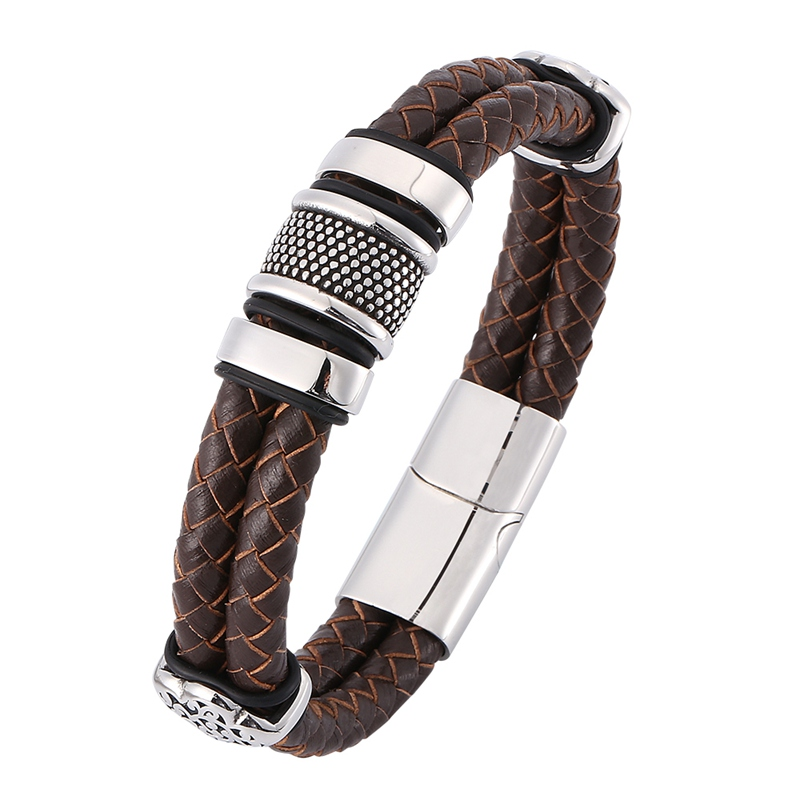 New Fashion Men Jewelry Vintage Brown Double Braided Leather Bracelet Men S.Steel Punk Leather Bangle Male Wristband Gift SP0378