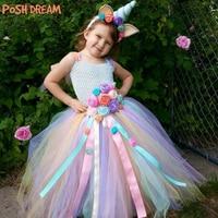 POSH DREAM Unicorn Birthday Children Girls Tutu Dresses Unicorn Halloween Cosplay Costume Easter Unicorn Kids Girls Outfit