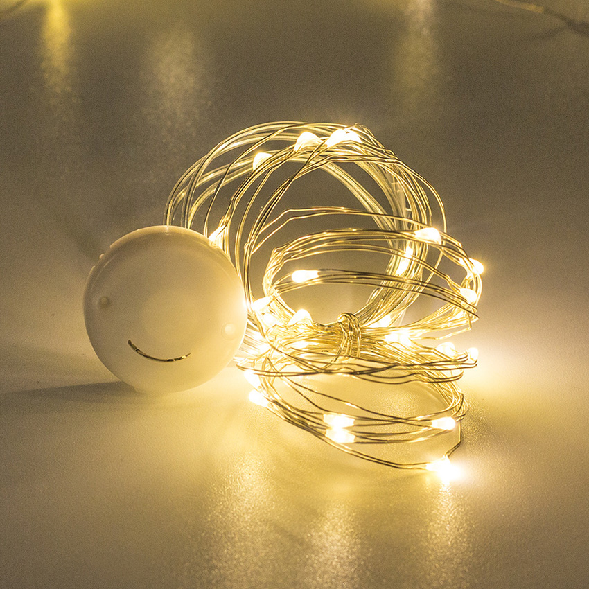 1M 2M 3M Silver Copper Wire Led Fairy String Lights Battery Powered Holiday lighting For Christmas Tree Wedding Party Decoration