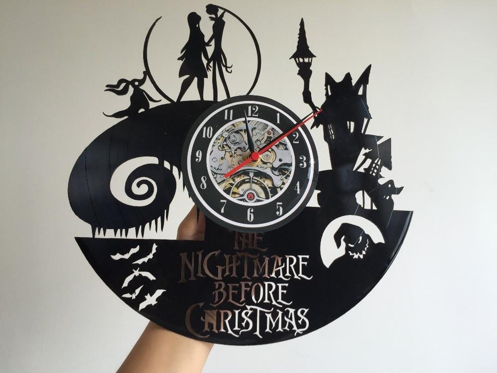 2017 new vinyl record wall clock nightmare before christmas jack and sally classic clocks quartz mechanism horloge reloj in wall clocks from home garden