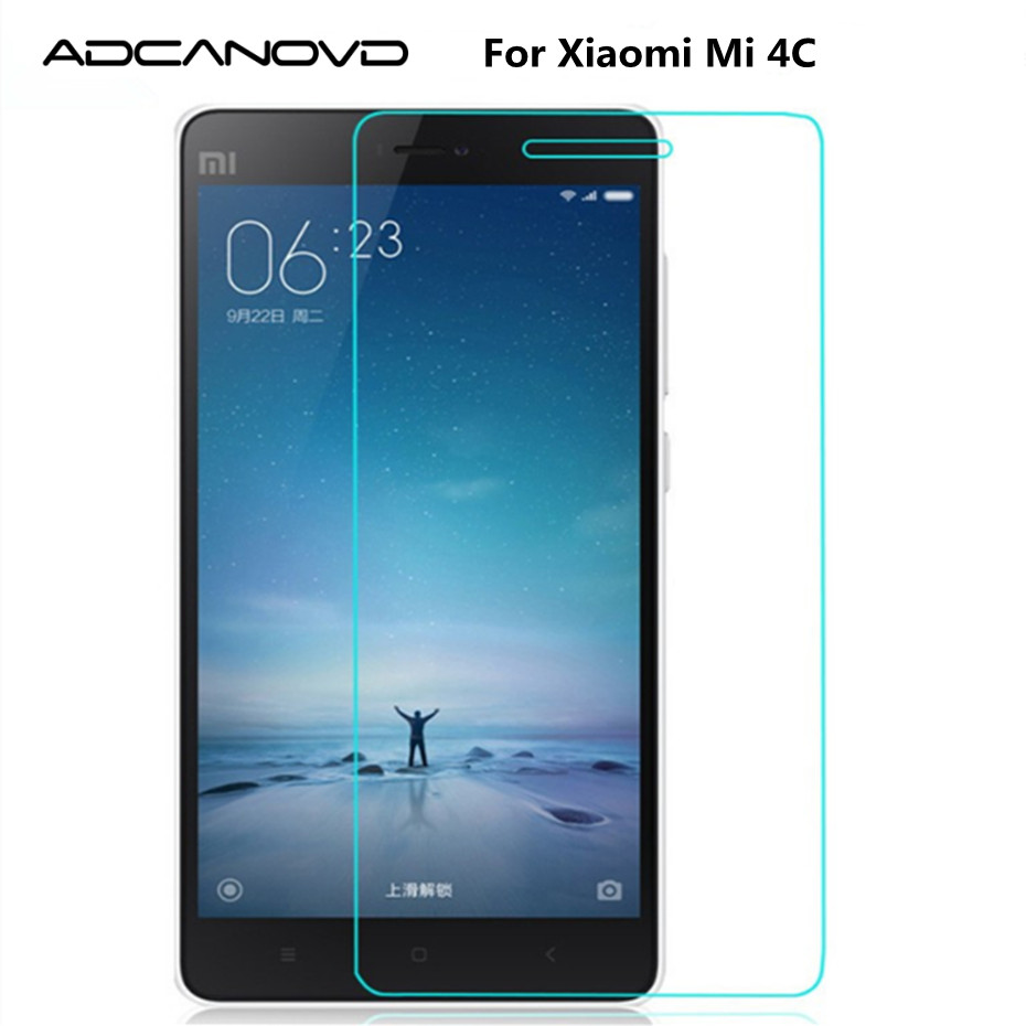 Adcanovd Explosion-proof Front Tempered Glass Film For Xiaomi Mi 4C Dual Sim mi4c mi-4C LCD Screen Protector pelicula de vidro