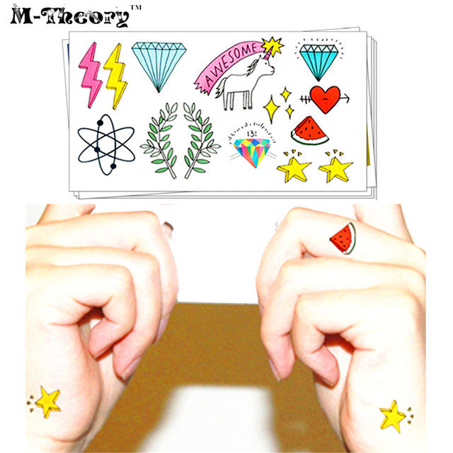 M-Theory Temporary Tattoos Body Arts Small Flash Tatoos Sticker 10.5x6cm Waterproof Tatto Bikini Swimsuit Dress Makeup Tools