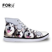 FORUDESIGNS Cute Pet Dogs Husky Print Women High Top Canvas Shoes Fashion Spring Summer Vulcanized Shoes