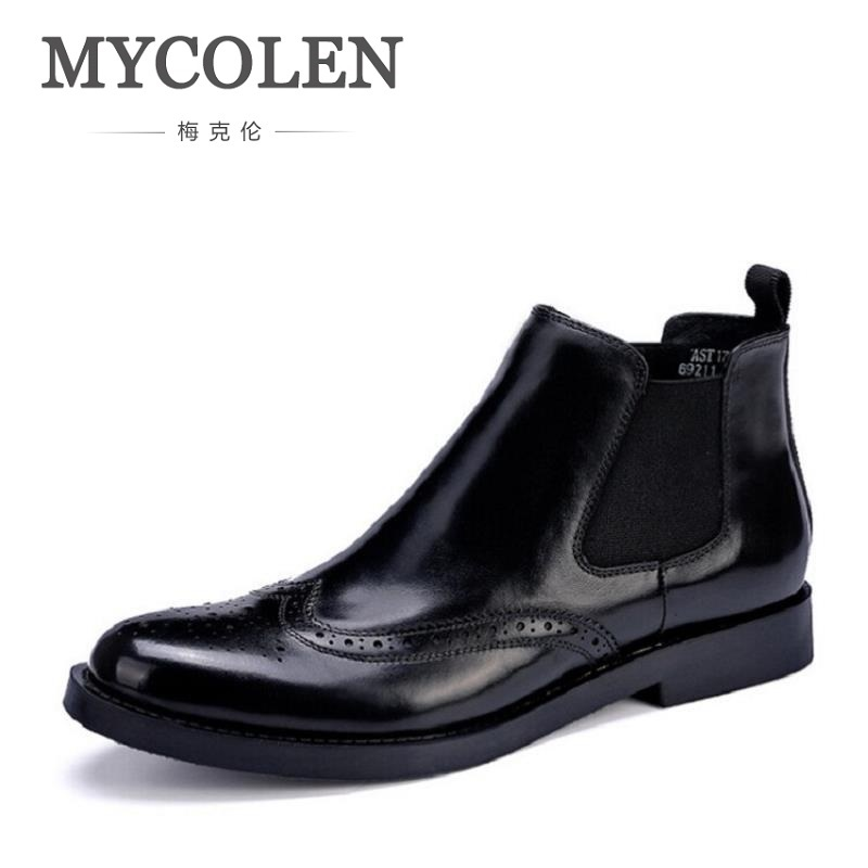 MYCOLEN British Vintage Men Boots Luxury Designer Genuine Leather Martin Men Boots Autumn Business Winter Ankle Boots Shoes serene handmade winter warm socks boots fashion british style leather retro tooling ankle men shoes size38 44 snow male footwear