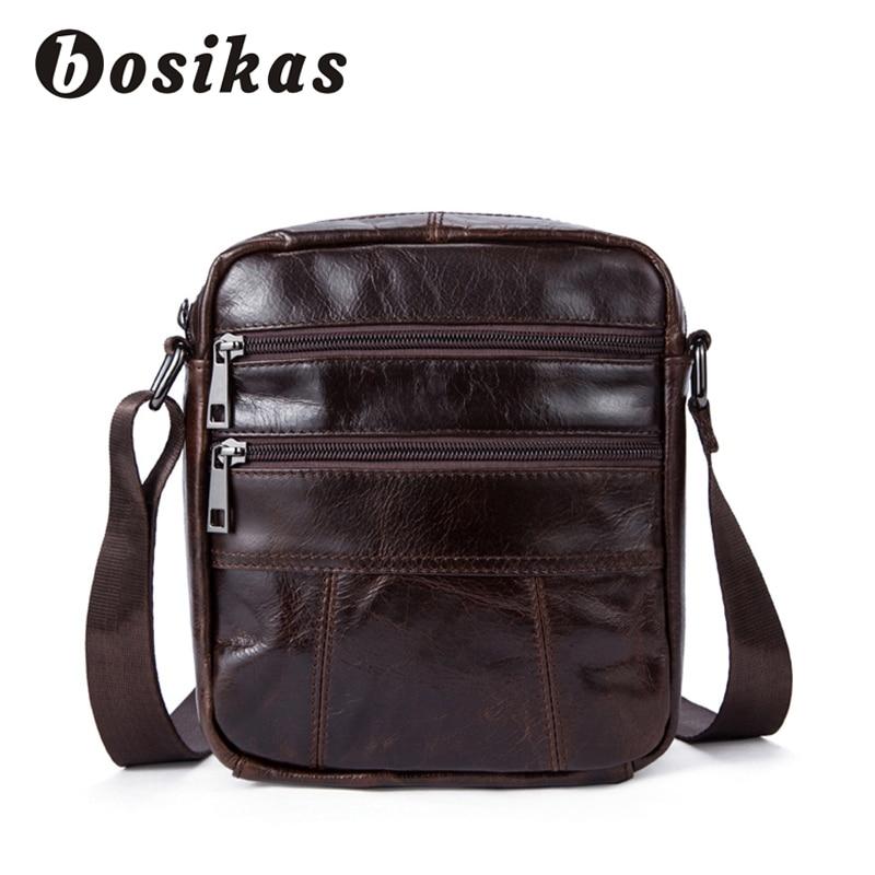 BOSIKAS Mens Bags Male Genuine Leather Crossbody Bags Mans Shoulder Bag Strap Small Casual Flap Men Leather Messenger Bolsa