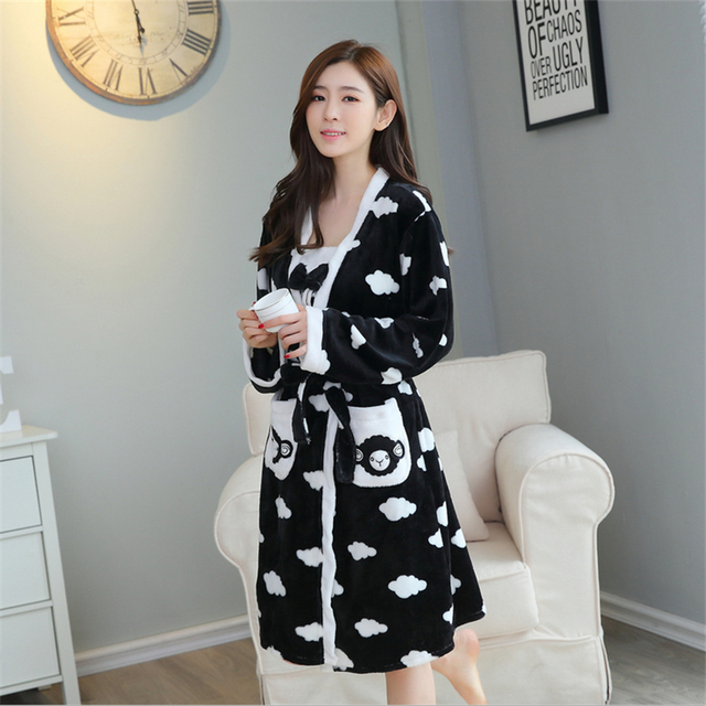 New Autumn Winter Flannel coral velvet women Sling pajamas Long sleeves embroidered Home clothing Bathrobes