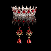 Bridal Jewelry Sets For Women Wedding Jewellery Vintage Earrings With Red Stone Crown Earrings Set Noble Jewelry For Bride
