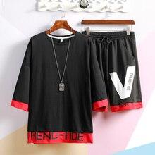 M-XXXL 2019 two piece set top and pants casual mens short sets summer clothes for men tracksuit men's clothing