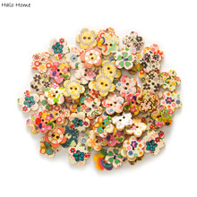 50pcs Flower Mixed 2 Hole Wood buttons for Sewing Scrapbook Clothing Gift Crafts Handwork