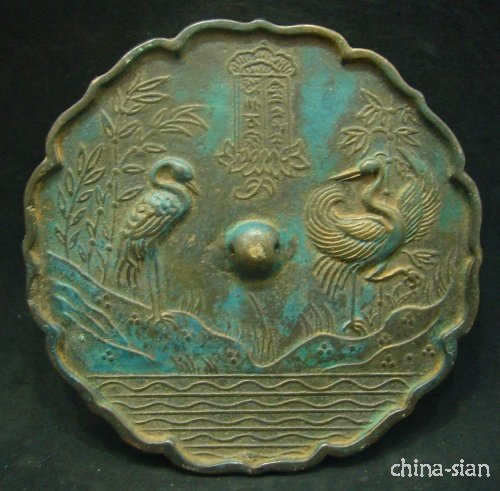 Chinese Yuan Dy Period Carve Lakefront Crane And Poesy Statue Bronze Mirror (A0314)