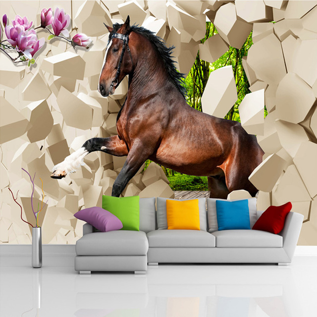 Custom Size Modern Creative 3D Broken Wall Horse Photo Mural Wallpaper For  Bedroom Living Room Decoration